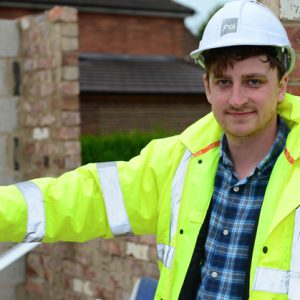Jamie Wasley on a building site